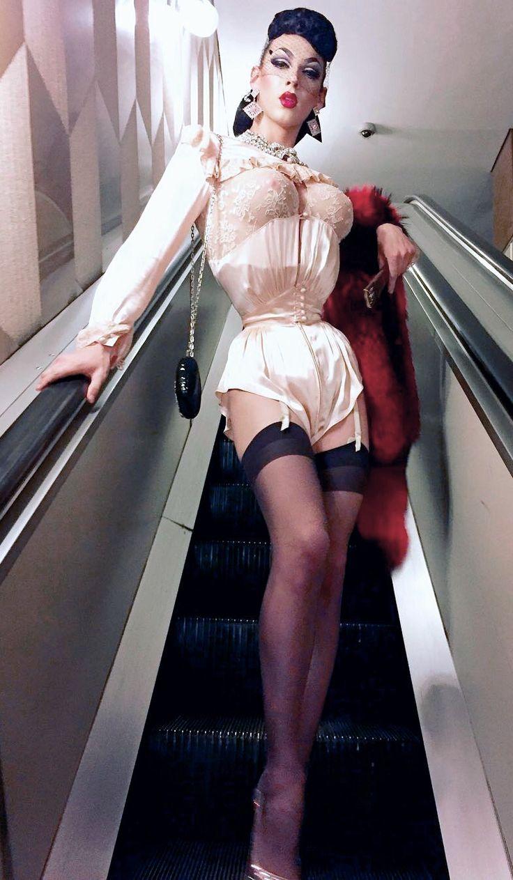 Violet Chachki on an Escalator, editorial fashion, RPDR7