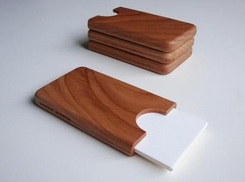 Handmade Wooden Business Card Holder. Really classy