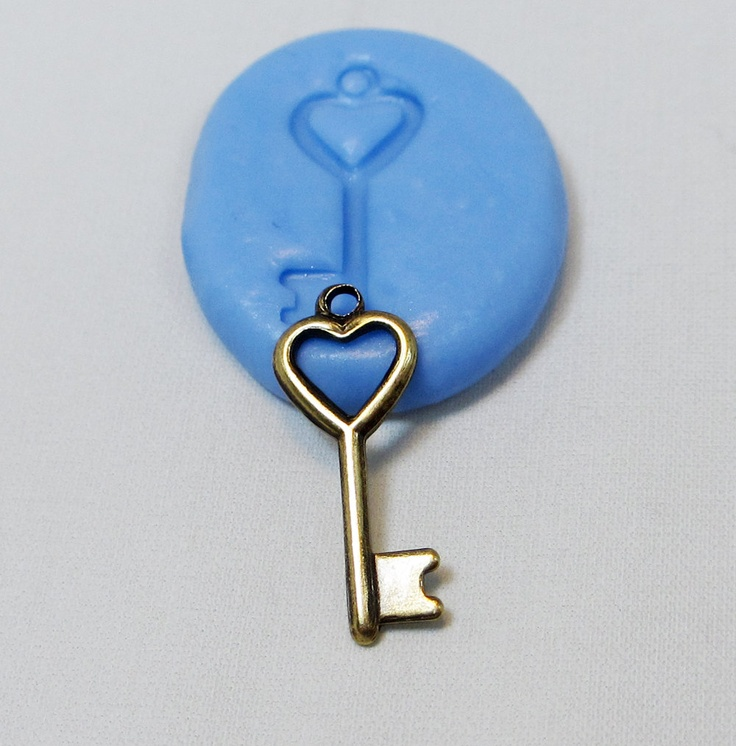 Heart Key Mold - Flexible Silicone Mold - Jewelry Mold, Polymer Clay Mold, Resin Mold, Craft Mold, Food Mold, PMC Mold. $3.99, via Etsy.