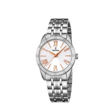 FESTINA steel bracelet F16940/2 Γυναικείο κλασικό quartz ρολόι FESTINA με ασημί καντράν και μπρασελέ από ανοξείδωτο ατσάλι | Ρολόγια FESTINA ΤΣΑΛΔΑΡΗΣ #Festina #λατινικο #λευκο #μπρασελε #ρολοι