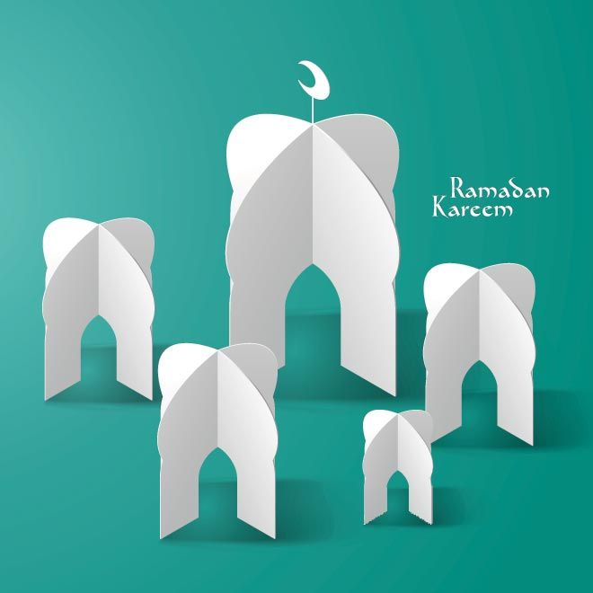 Paper made mosque on green background Ramdan kareem template vector illustration