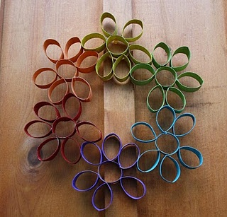 It's Flower Power Week!!! Let's Make a Recycled Rainbow Flower Wreath