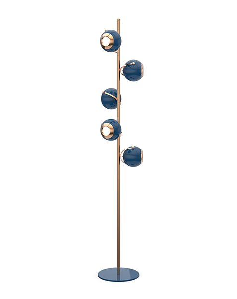 Scofield is an unusual floor lamp with five chrome lights all supported by a white brass base. Each light and bracket rotate separately allowing different light focuses
