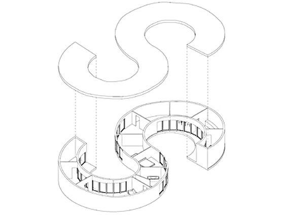 Buchstaben-Häuser von Studenten aus München entworfen (Auf der Grundlage von den Plänen von  Johann David Steingruber 1773)