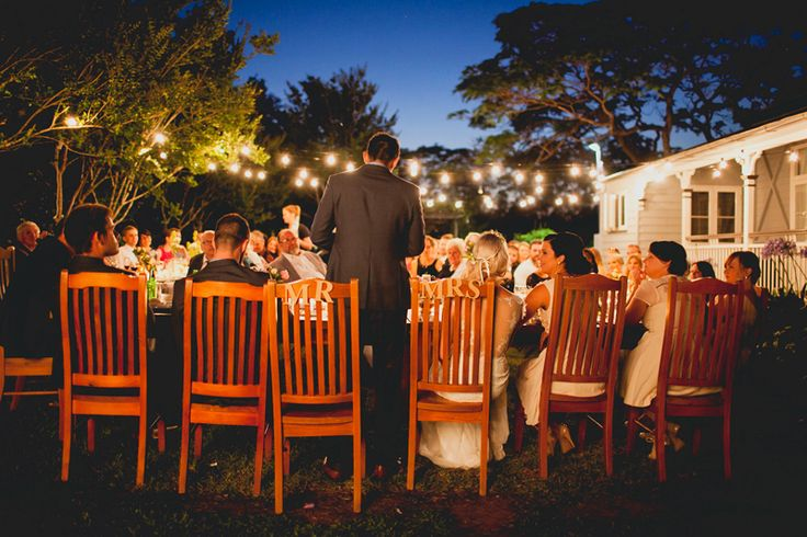 Use wooden table set as bridal table