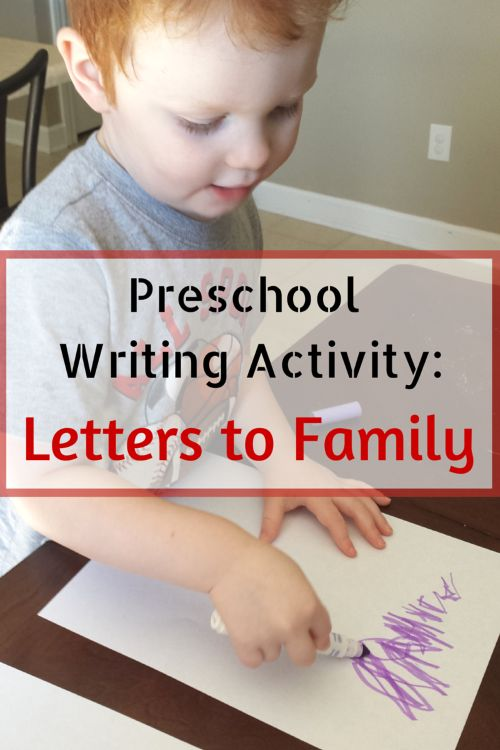 Preschool Writing Activity: Letters to Family. This writing activity is a great pre-writing tool and kids will love writing letters to family. It gives fine motor practice and practical life skills as well. It is also an opportunity to learn about the mail system and postal workers. #preschool