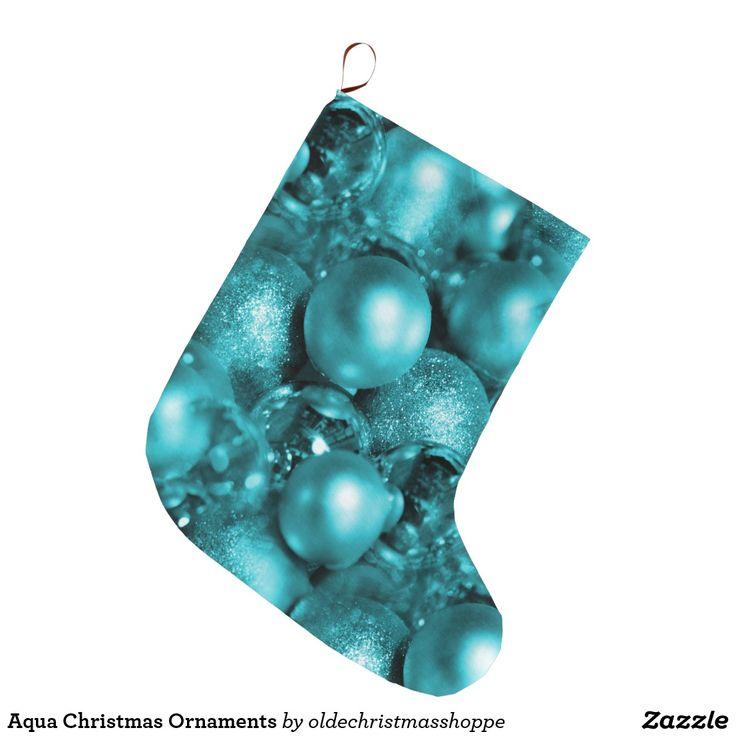 Aqua Christmas Ornaments Large Christmas Stocking