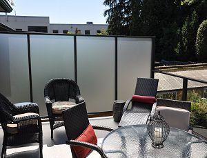 Dek Rail aluminum deck railing frames with full or semi privacy panel options
