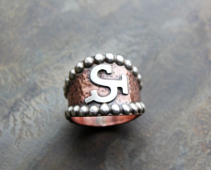 Custom Brand Ring. Copper and Sterling silver.  Livestock Brand. Ranch Brand Ring