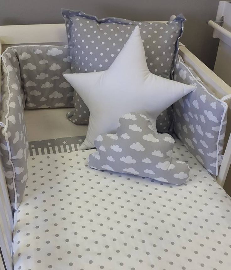 Our #Clouds bedding is perfect with our #GreyandWhite #Spots, perfect for any #NeutralNursery!  #BabyBedding #BabyLinen