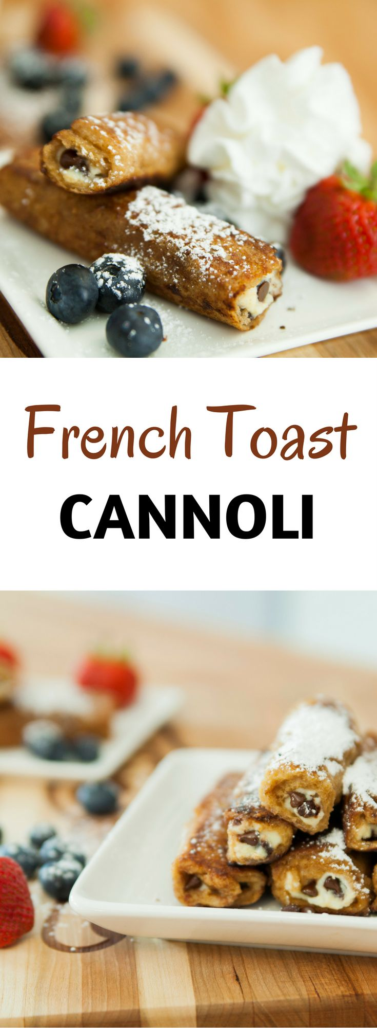 French Toast Cannoli Roll Ups: this fun breakfast/brunch recipe gets french toast rolled up with classic cannoli flavors. You won't be able to resist it!