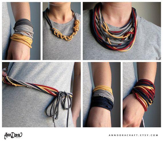 Repurposed Tshirt Bracelet or Necklace