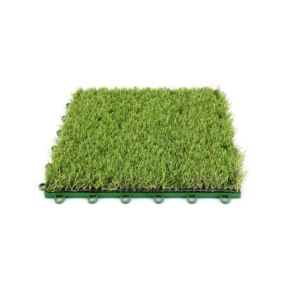 Aleko Indoor Outdoor Artificial Grass 12 X 12 Plastic Deck Tile In Green Deck Tile Deck Tiles Decks Backyard