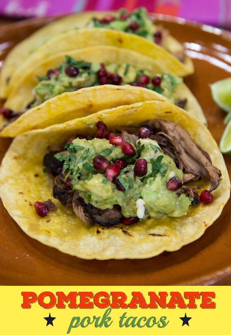 Make the most tender pork rib tacos topped with guacamole, queso fresco and pomegranate seeds.