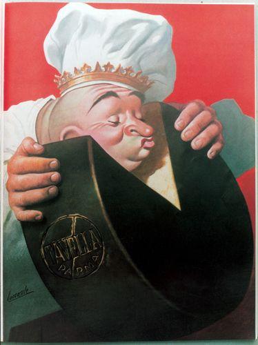 G. Boccasile Manifesto per il Caseificio Tavella 1940 ~ Food museums travel - G. Boccasile Manifesto for the dairy Tabari 1940