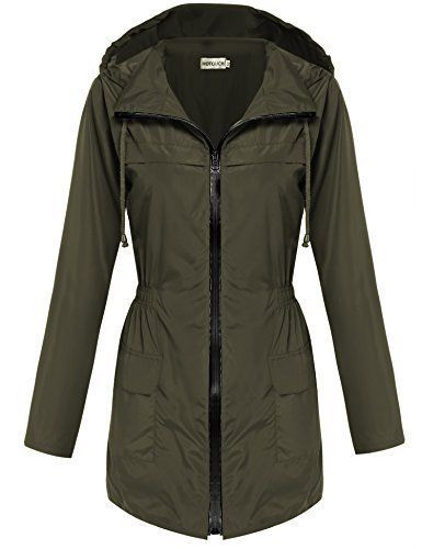 Hotouch Women Fishtail Festival Raincoat Parka Hooded Jacket Coat(Army Green,L)