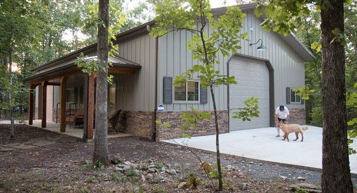This garage was built for Rick & Katrina of Roland, AR  Special Features:    Morton's Hi-Rib Steel  Porch  Morton Foundation System  Stone Wainsco...