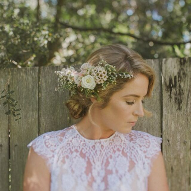 We created an intricate hair piece for Jen with roses, geralton wax & baby's breath. Photo by Nina Claire Photographer.
