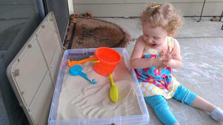 Apartment sandbox. Rubbermaid + 50lb bag of play sand= toddler fun without losing the majority of the back porch. Easy to seal, move and store.