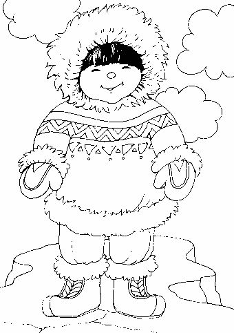 Inuit Esquimo Coloriage Pays Et Regions Eskimo Coloring Pages See More Three Snow Bears Husky Pups