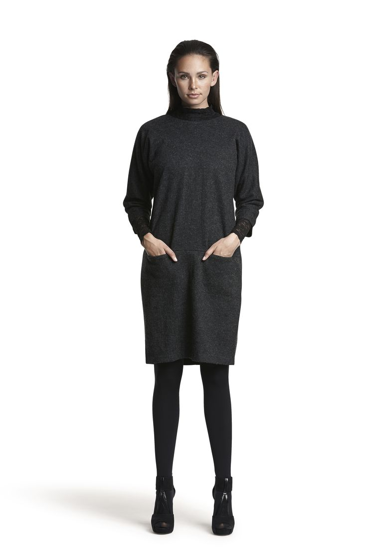 Gemini wool dress and Gabriella lace top #darkgrey #fashion #elegant #warm #lace #AW15