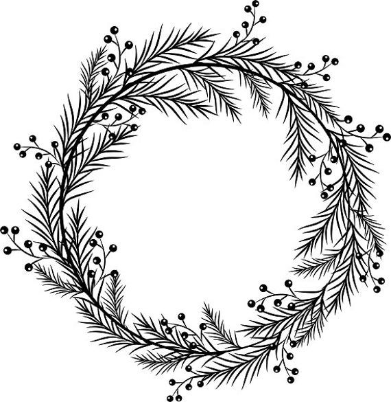 15+ Christmas Wreath Clipart Black And White