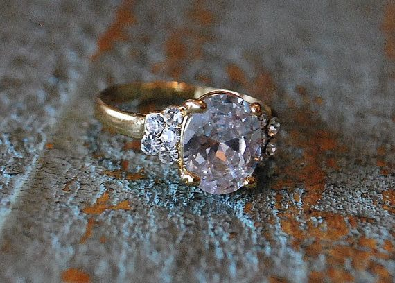 Ring Jewelry 10K Yellow Gold Filled White by BeautyandStones, $75.00