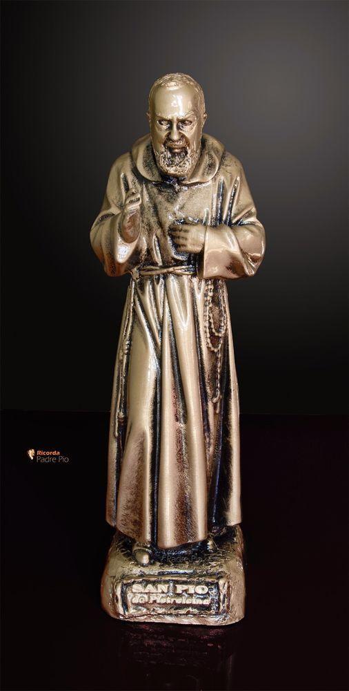 Statua di Padre Pio  29cm, resina, effetto bronzato