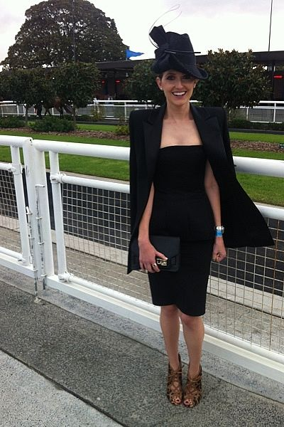 """At Doncaster Day at Royal Randwick in a Josh Goot top and skirt, Balmain jacket, Alaia heels and a Nerida Winter hat."""