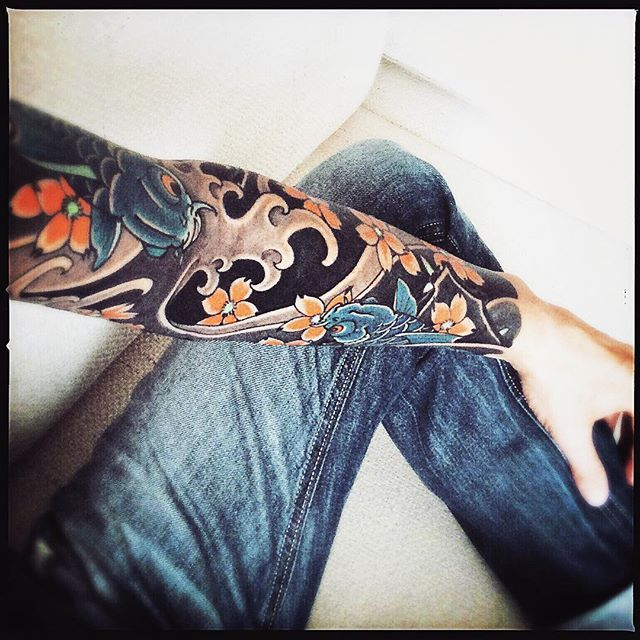 So - fertig! Thanks to @slavastarkov #japanese #tattoo #sleeve #slavastarkov