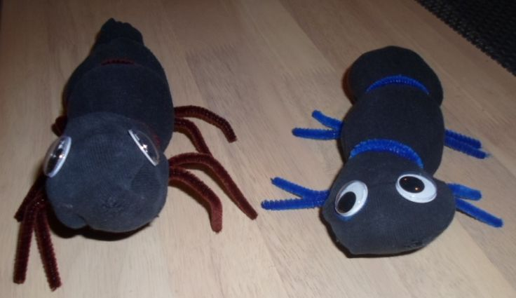 A pair of old socks turned into creatures.