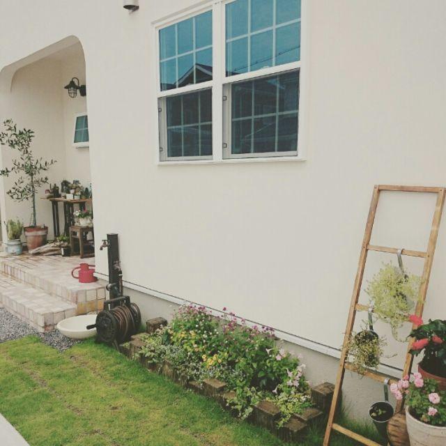Entrance,ナチュラル,庭,アンティーク,ガーデニング,ガーデン,花壇,花壇 手作りのインテリア実例 | RoomClip (ルームクリップ)
