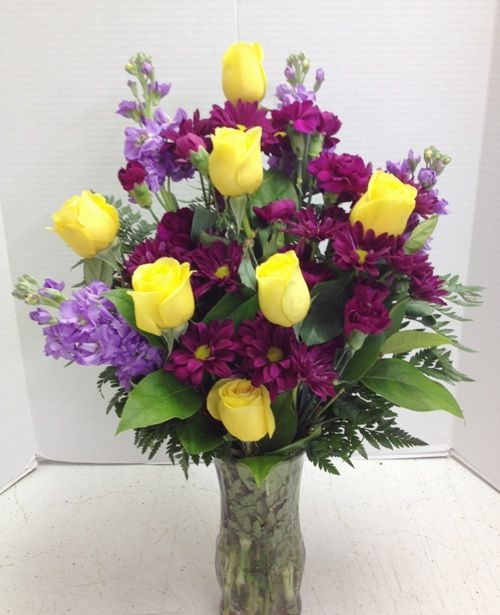 61 best favorite floral flower arrangements images on pinterest yellow roses and purple stock fragrant and stunning designed by roadrunner florist phoenix az mightylinksfo