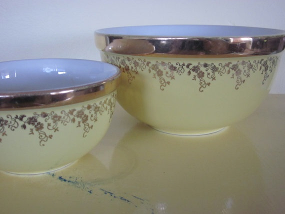 Set Of Two Hallu0027s Kitchenware Bowls Yellow And By AtomicHostess, ...
