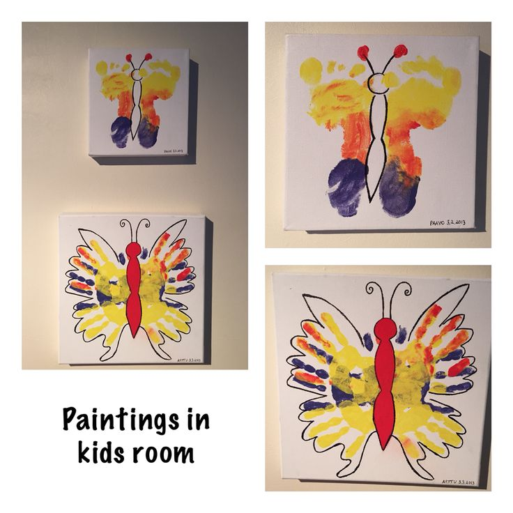 Handprint and footprint butterfly paintings that I did with kids. #handprint #footprint #painting #kids #diy #artproject #butterfly