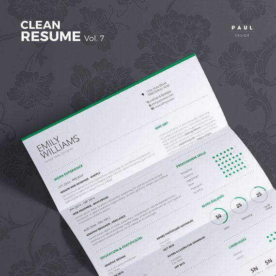 Clean Resume Vol. 7  Word and Indesign by #TheResumeCreator on Etsy  #Lebenslauf #Cv #CurriculumVitae #Resume