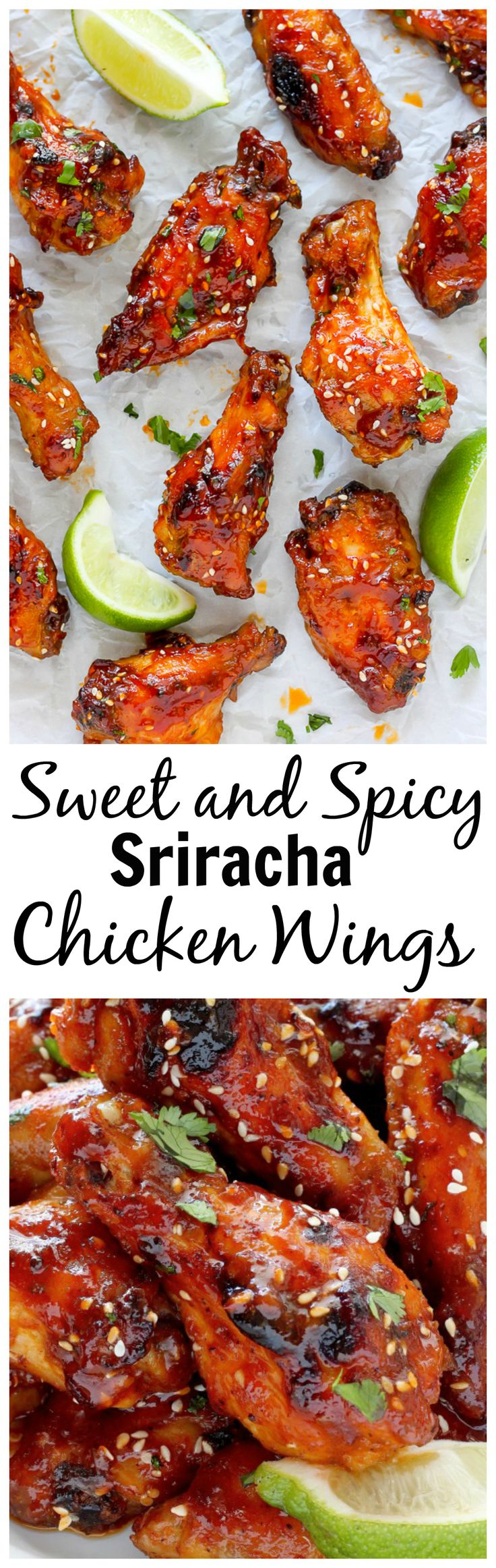 Sweet and Spicy Sriracha Baked Chicken Wings - these are seriously amazing!02-2016 sauce fait avec cassonade, margarine. très piquante délicieuses