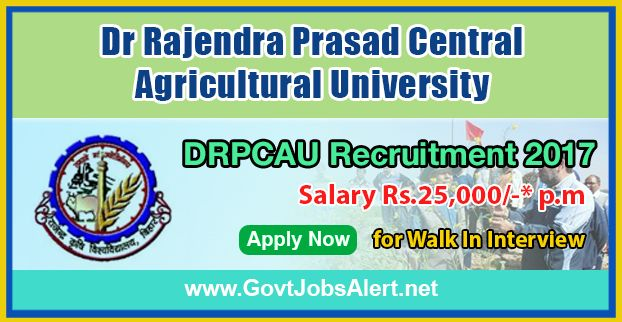 DRPCAU Recruitment 2017 – Walk in Interview for Senior Research Fellow (SRF) Posts, Salary Rs.25,000/- : Apply Now !!!  The Dr Rajendra Prasad Central Agricultural University - DRPCAU Recruitment 2017 has released an official employment notification inviting interested and eligible candidates to apply for the positions of Senior Research Fellow (SRF). The interested candidates have to attend the walk in interview to apply to the post in the prescribed format website or in