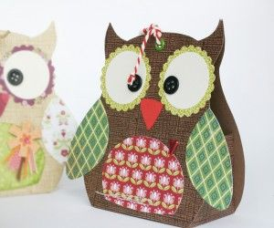 Owl Gift Box with template.  Links to a German site so you may need to translate back to English.  Worth the trouble--very cute and easy.