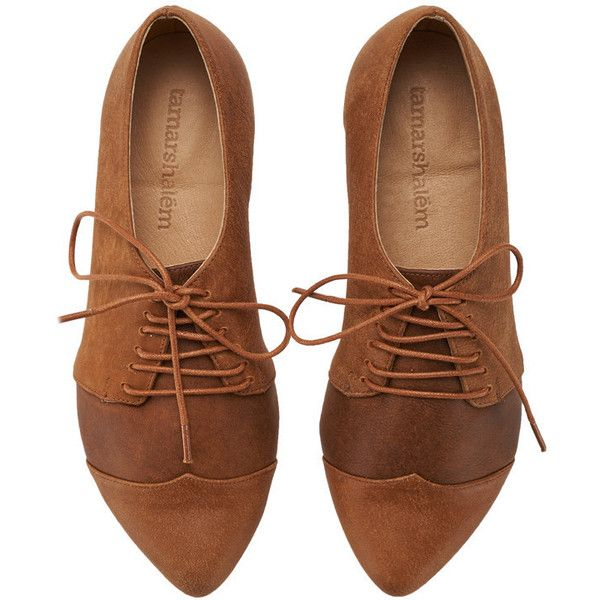 Winter Ginger Brown Oxford Shoes Polly Jean Handmade Brown Flats... (£115) ❤ liked on Polyvore featuring shoes, oxfords, grey, women's shoes, gray flats, brown leather shoes, leather oxfords, brown oxfords and flat shoes