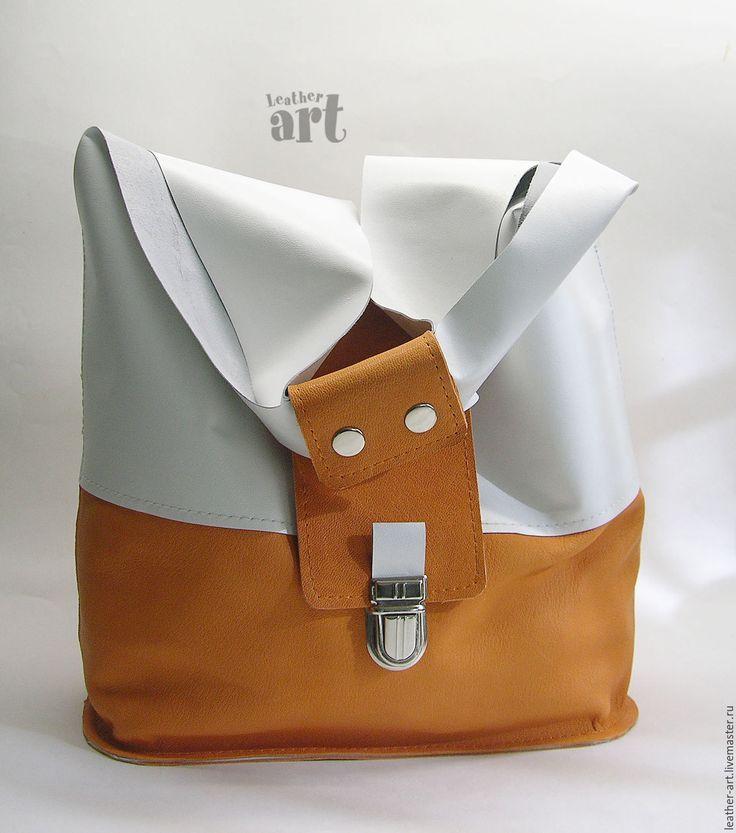 Купить Кожаная сумка-мешок Летняя - белый, оригинальная сумка, женская сумка, кожа натуральная