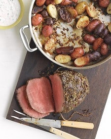 Romsemary Garlic Roast Beef and Horseradish Sauce. Top round roast is low in fat but has great flavor. It is at its most delicious when cooked to medium-rare and sliced very thin, against the grain.