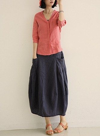 Dark blue Cool Baggy Maxi Skirt Linen cotton Skirt Lantern skirt Trendy Long Skirt Elastic waist DressC5