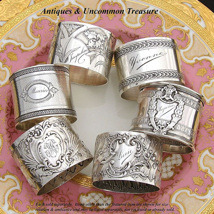 Antique French sterling silver napkin rings!  Another thing I have started collecting!!