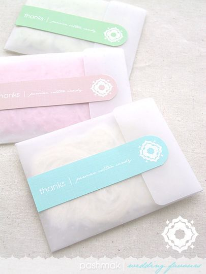 "DIY Persian Cotton Candy Wedding or Party Favours   Persian Cotton Candy (or Fairy Floss) also known as ""Pashmak"" would make an exotic gourmet favour for guests at your wedding or party. Available in various soft hues and flavours including Rose, Pistachio, and Vanilla, Pashmak resembles soft wisps of hair and looks really fab inside these transluscent paper envelopes.::"