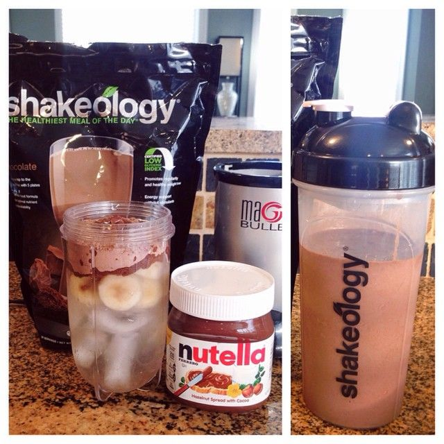 Banana Nutella Shakeology Recipe - 1 scoop of Chocolate Shakeology, 1/2 a frozen banana (sliced), 1 teaspoon of nutella, 8oz of water and a handful of ice