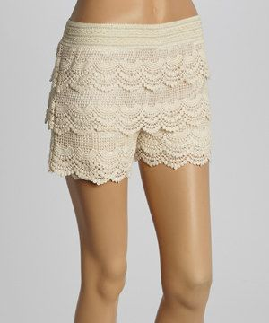 Another great find on #zulily! Natural Crocheted Tiered Shorts - Women by Maya Fashion #zulilyfinds