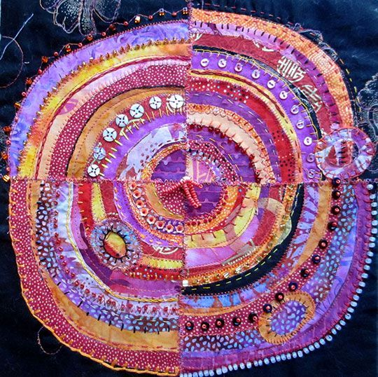 """Recyled Circles is a fabric class presented by Jane LaFazio who wrote about this technique in """"Cloth Paper Scissors"""" magazine in March 2009."""