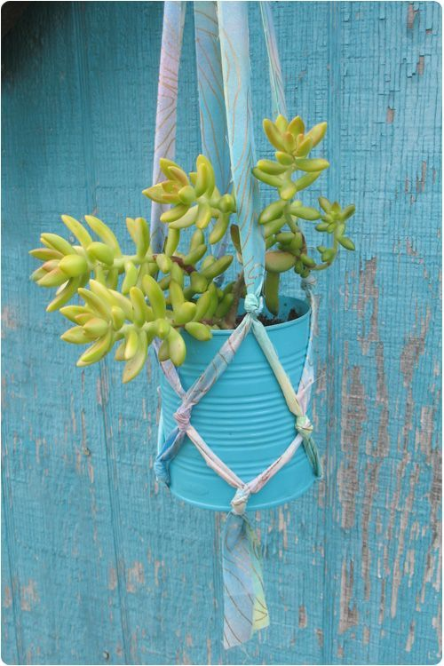 DIY Plant Hanger From Fabric Strips