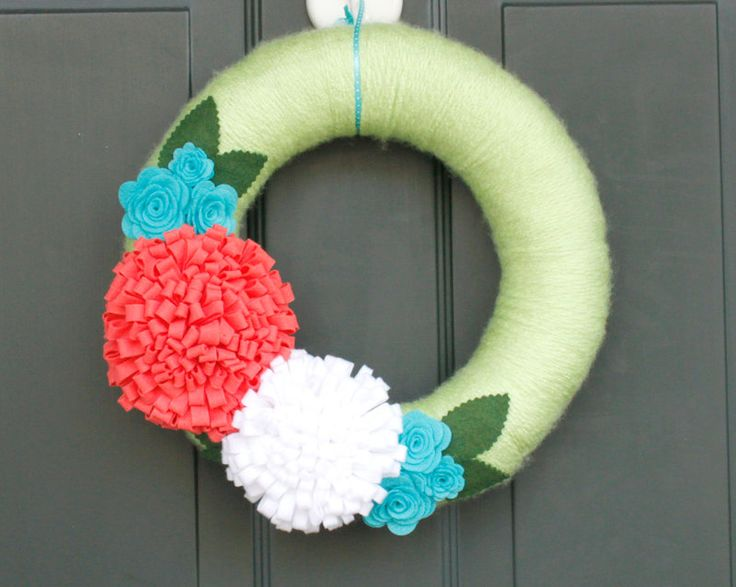 used different colors...I am going to make another one using the entire pool noodle...would not recommend cutting in half, even if it does allow you to make 2 wreaths, the wreath is way too skinny...use the entire noodle...super cute & easy...